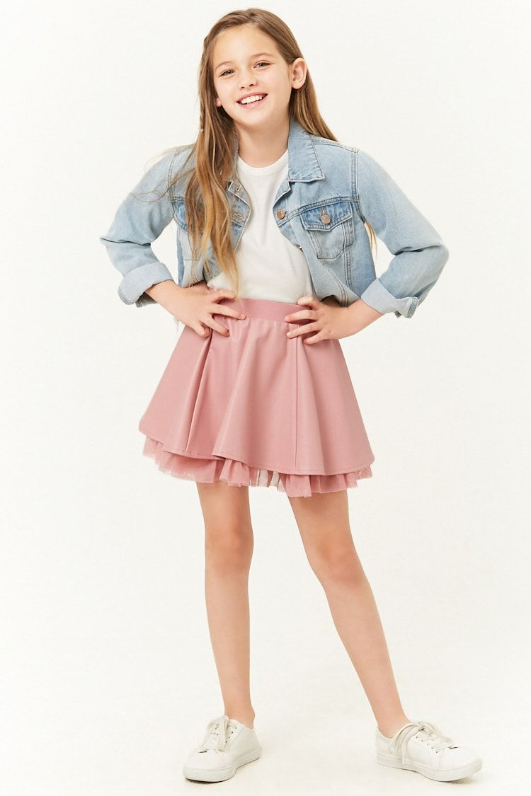 5d8dbdc88dd16d Girls Faux Leather Skater Skirt (Kids) in 2019 | Bedroom | Leather ...