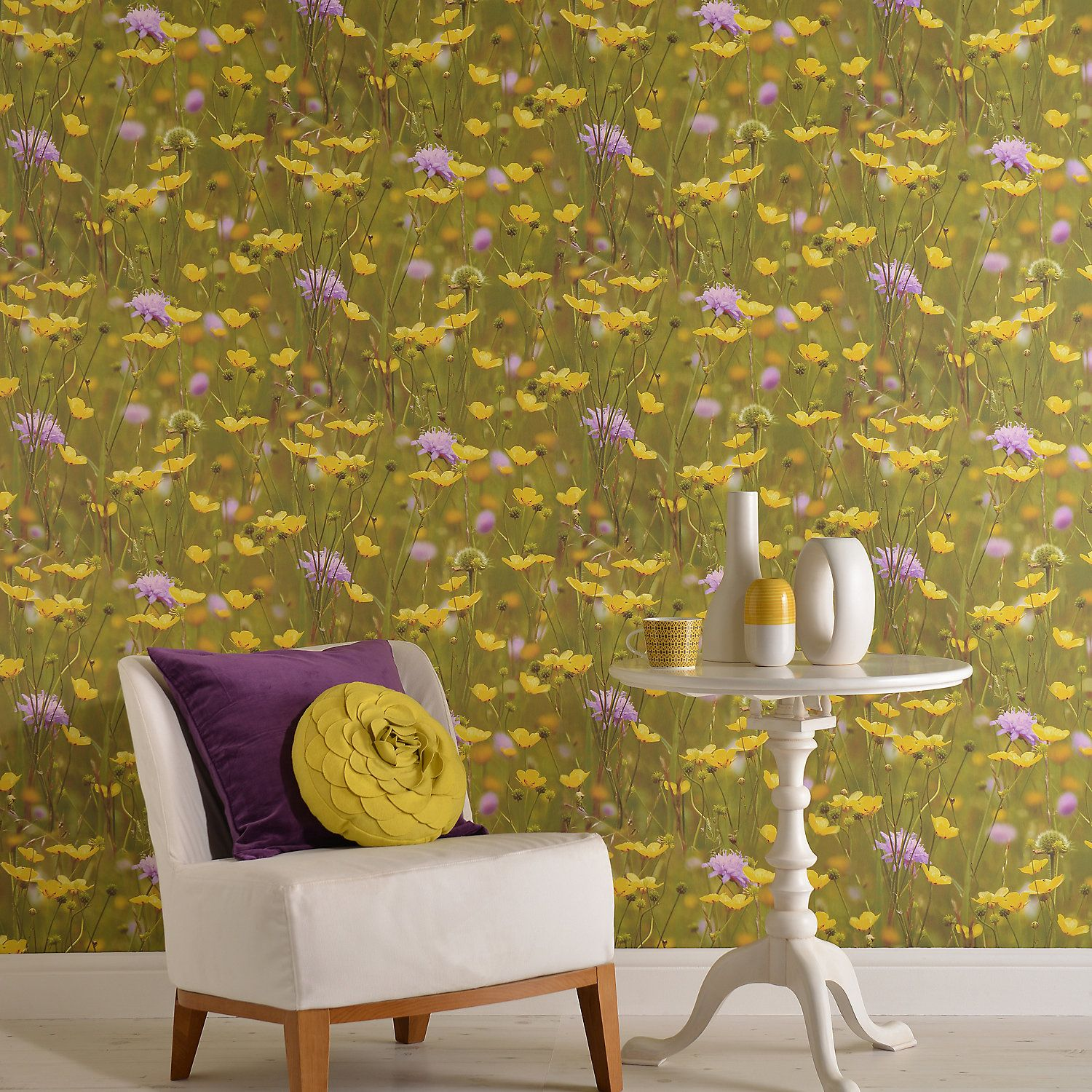 Statement Meadow Green & yellow Floral Wallpaper in 2019