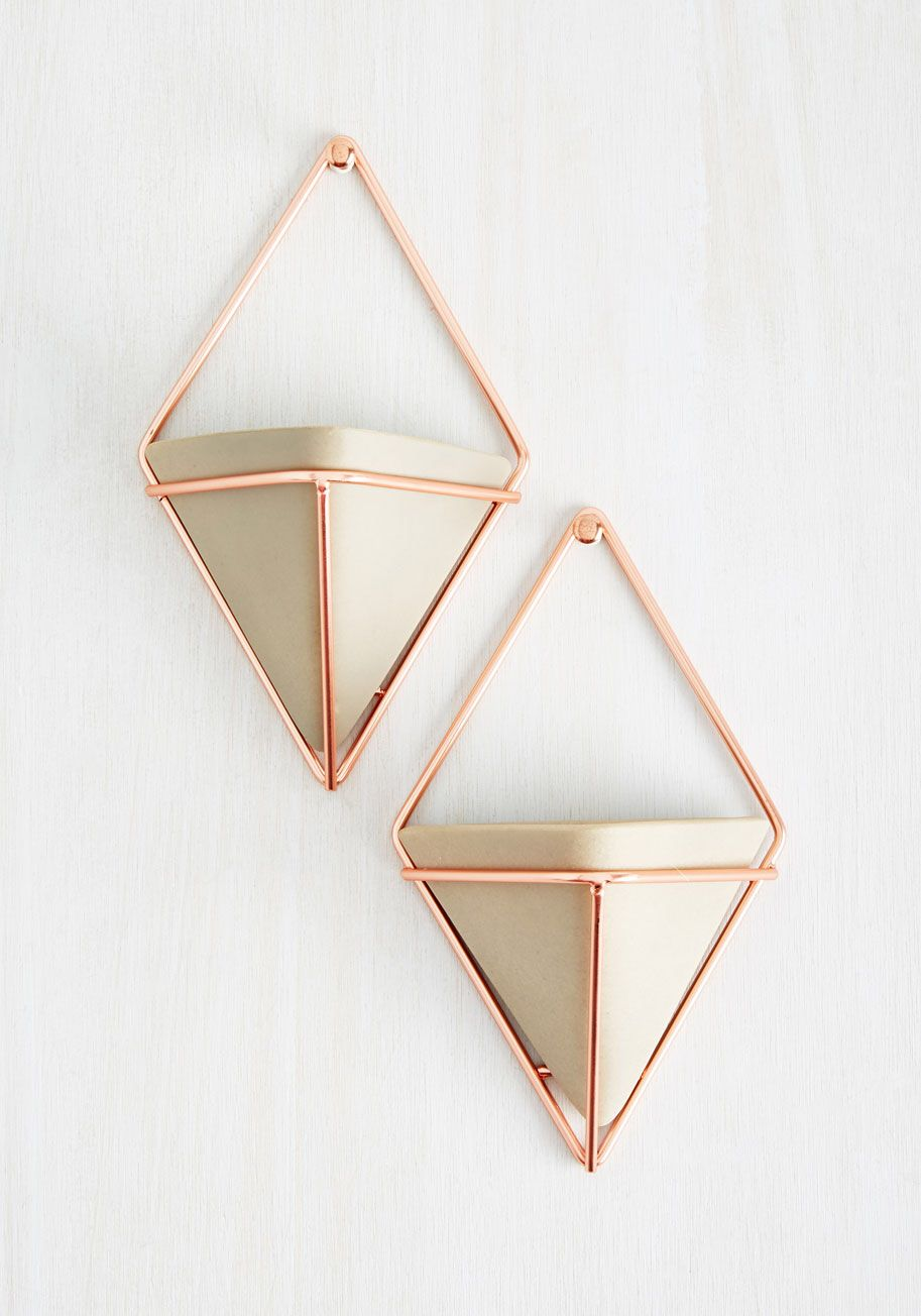 Buy marble rose gold silver and floral geo triangles rectangular - Exemplary Contemporary Wall Vase Set In Rose Gold Modcloth
