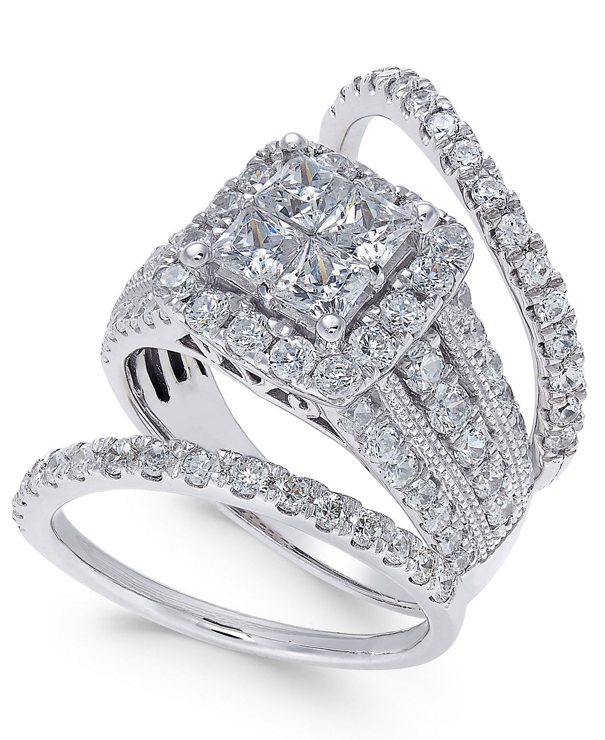 Diamond 3 Pc Bridal Set 3 Ct T W In 14k White Gold Rings
