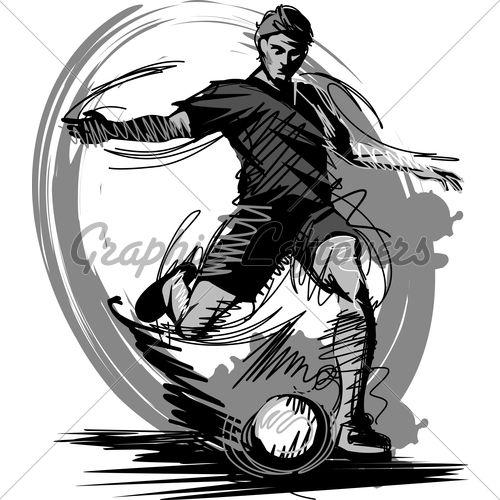 Sketch Illustration Of A Soccer Player Futebol Arte Maior