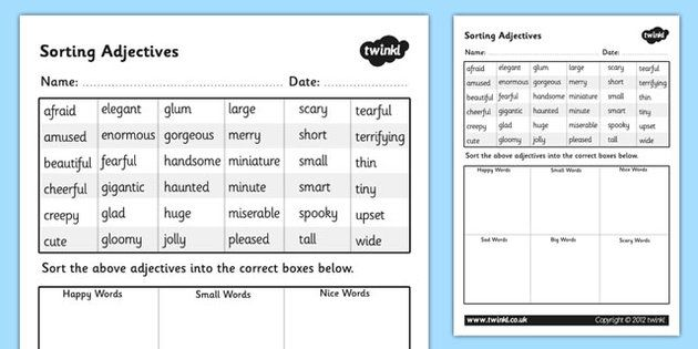 sorting adjectives worksheet