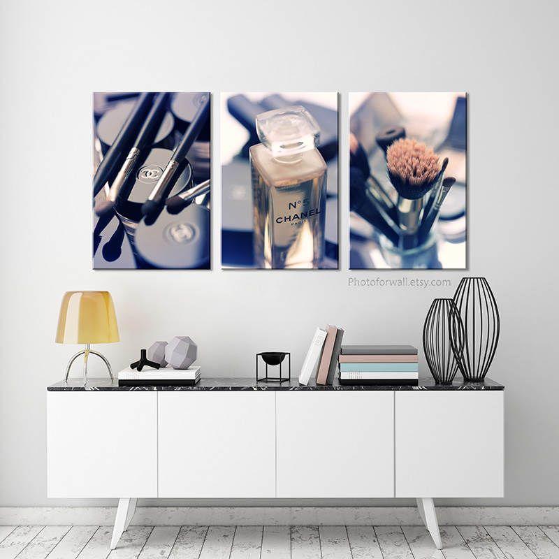 chanel canvas artchanel photographybathroom art rustic set of 3 printscanvas