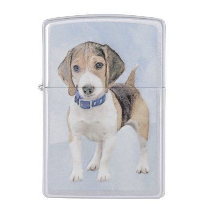 Beagle Painting Cute Original Dog Art Zippo Lighter Zazzle Com
