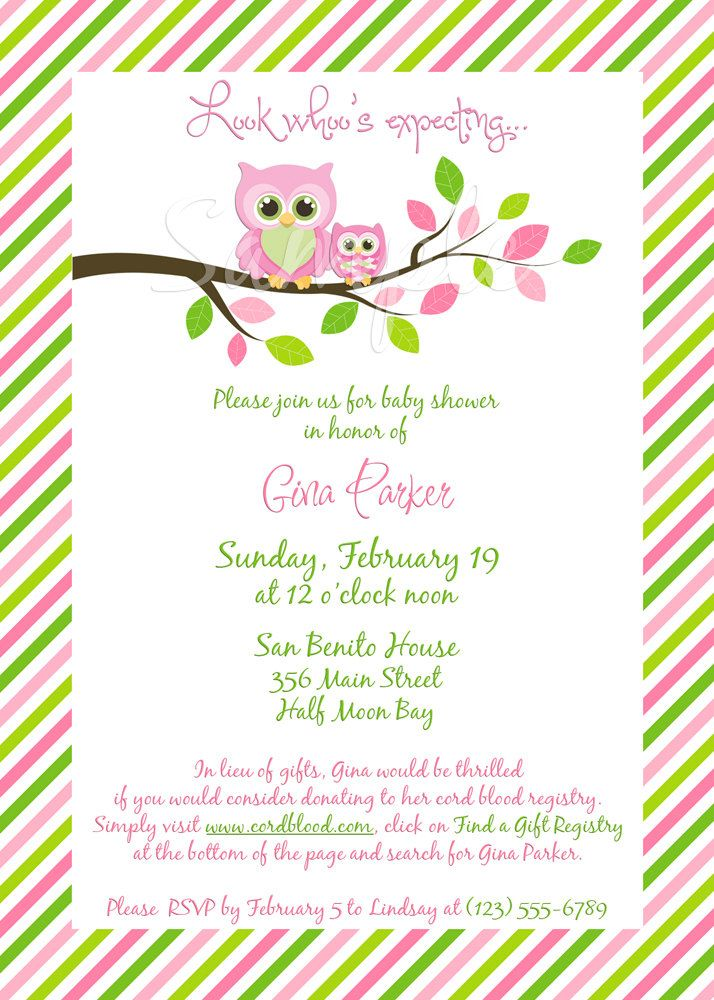 Gina Owl Baby Shower Invitation Girl  Digital File You Print