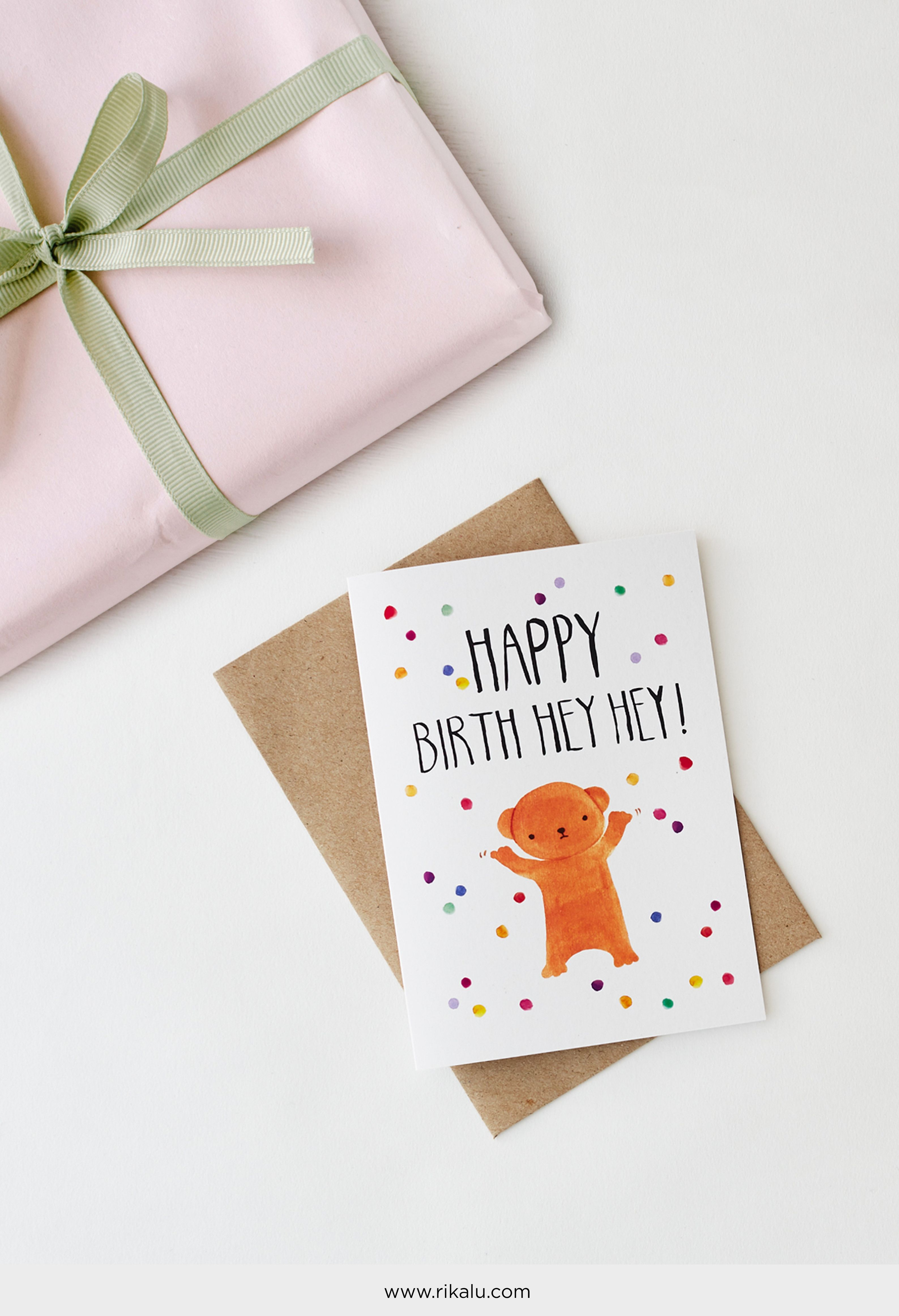 Happy Birth Hey Hey Original Art Greeting Cards Illustrated