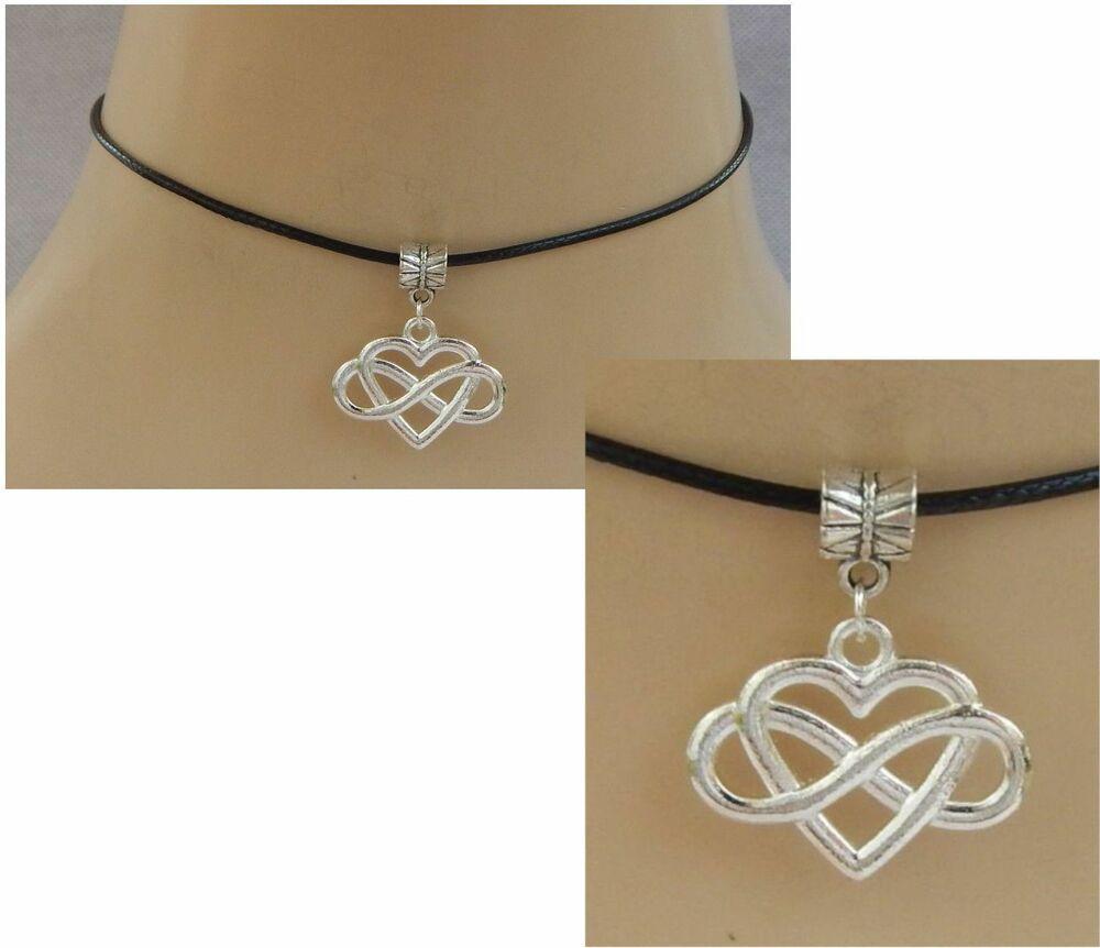 Hamsa Symbol Ohm Charm Pendant Choker Necklace with Black Cord