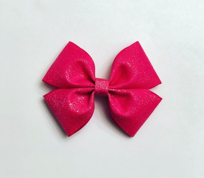 Hot Pink Hair Bow Glitter Hair Bows Pink Hair Bows Sparkle Etsy Sparkle Hair Bows Purple Hair Bows Pink Hair Bows