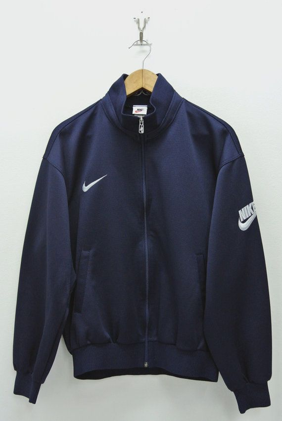 a64f01eb4d80 Nike Jacket Mens Large XLG Vintage Nike Track Top 90s Nike Navy Blue ...