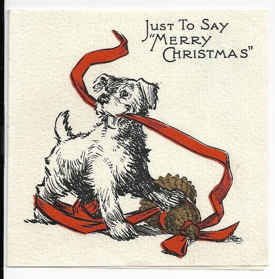 C1940 Terrier Puppy Dog Christmas Holiday Vintage Greeting Card New Years Wish | eBay