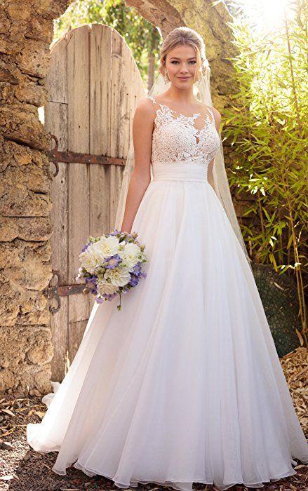 f843f84de3 Doramei Women s Tulle Chiffon Appliques Scoop Neckline A-Line 2018 Beach Wedding  Dress White 16