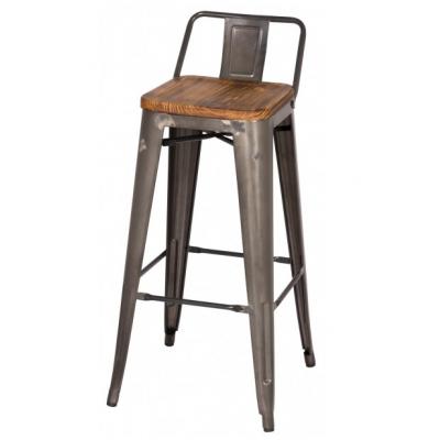 Metroline Low Back Metal Counter Stool with Wood Seat in Gun Metal
