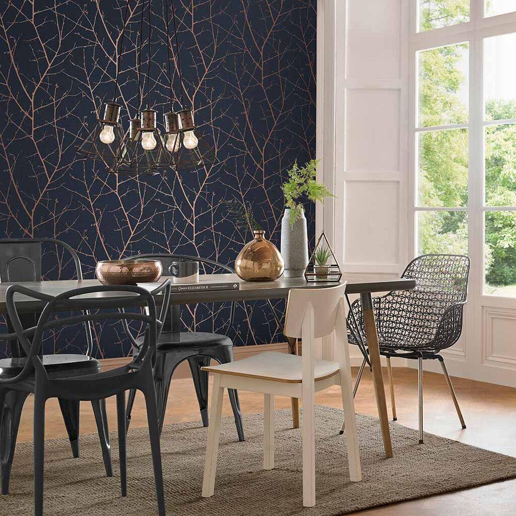 Boreas Midnight Wallpaper In 2020 Dining Room Wallpaper