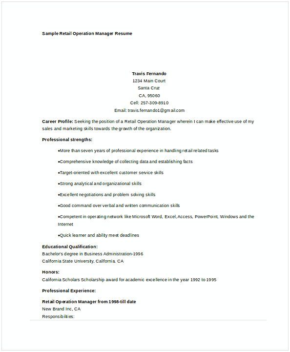 Retail Operations Manager Resume Sample  Retail Manager Resume