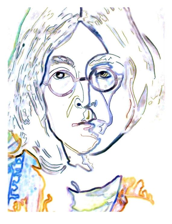 John Lennon White Outline Art Print Outline Art Art Art Prints