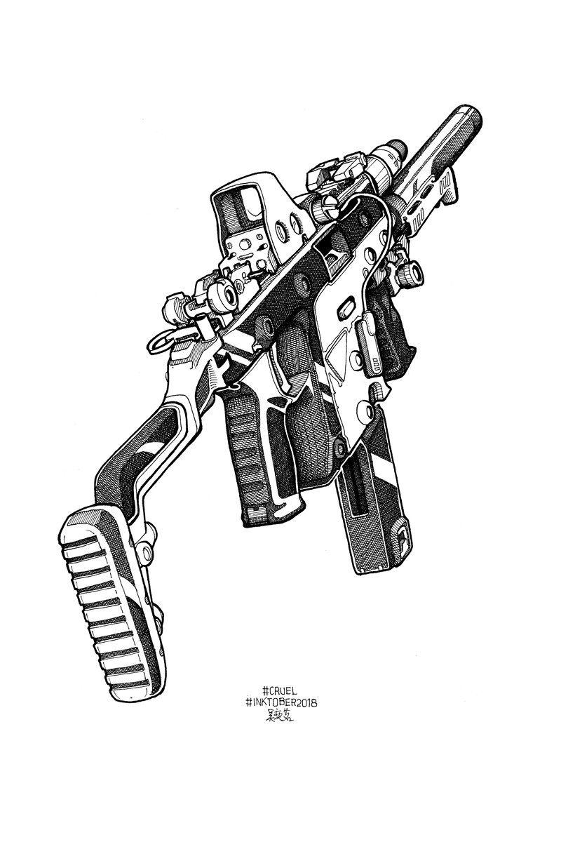Artstation 11 Cruel Yiming Wu Pistolet Dessin Fusil Dessin Idees Esquisses
