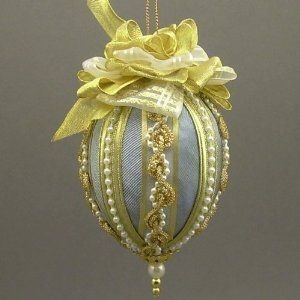 Wedgewood Blue And Pearls Fabric Easter Egg Ornament