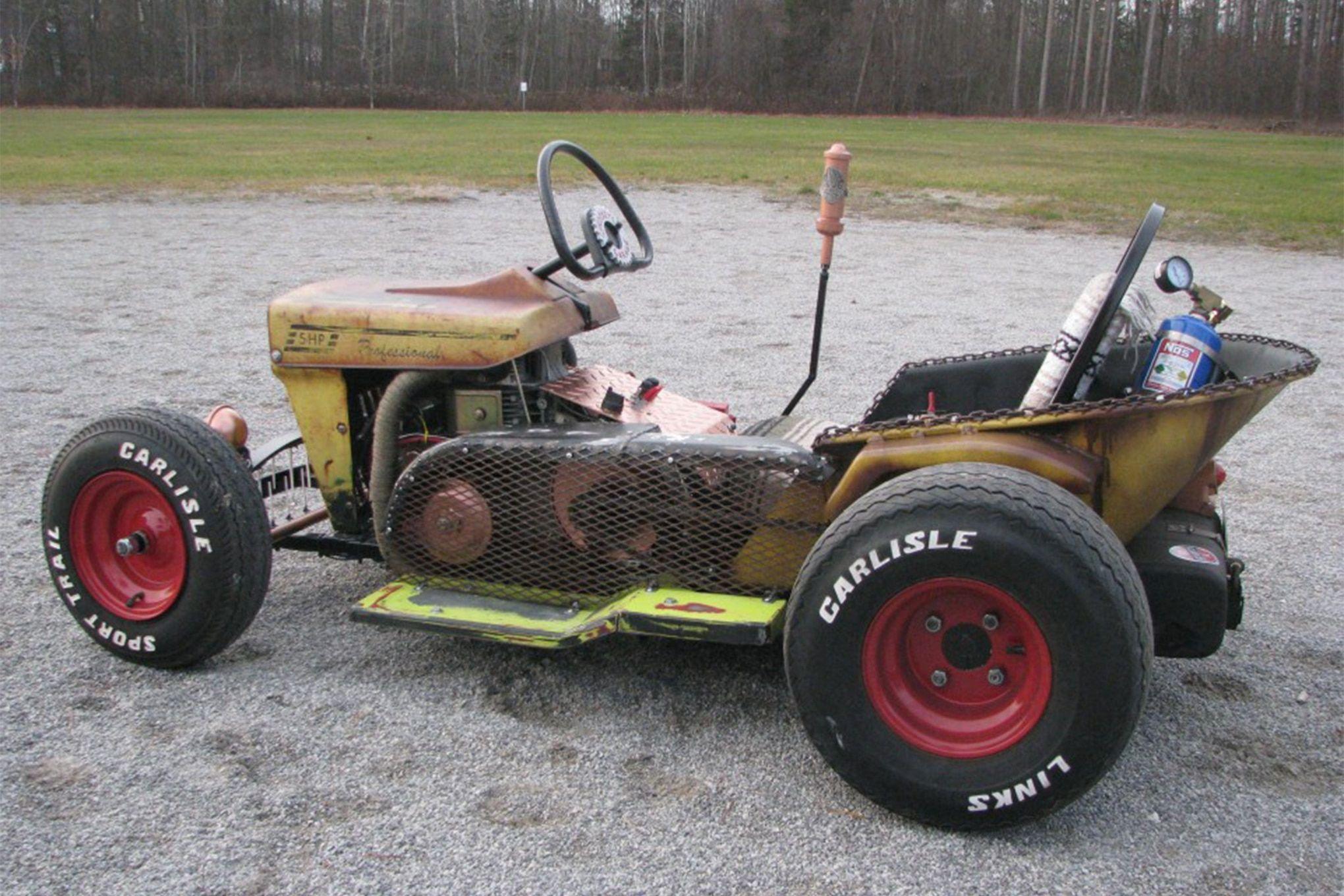 The Diesel Weasel Mow Cart Is Home Built Rat Rod Mayhem Hot Rod Network Homemade Go Kart Rat Rod Rat Rods Truck