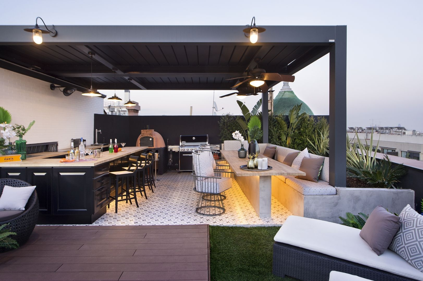 This Attic Apartment Boasts Two Bars And A Dome Roof Nonagon Style Gazeboplansdiy Rooftop Patio Design Rooftop Design Roof Terrace Design