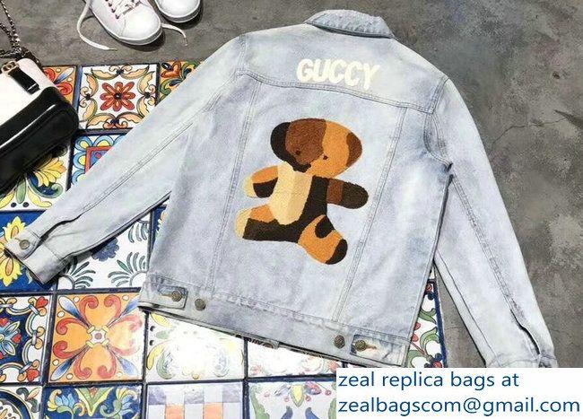 eaf1061c624 Gucci Guccy Teddy Bear Denim Jacket 2018