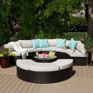 Isla 9 Piece Outdoor Sectional (Isla 9 Piece Sectional), Beige, Size  9 Piece Sets, Patio Furniture (Aluminum)