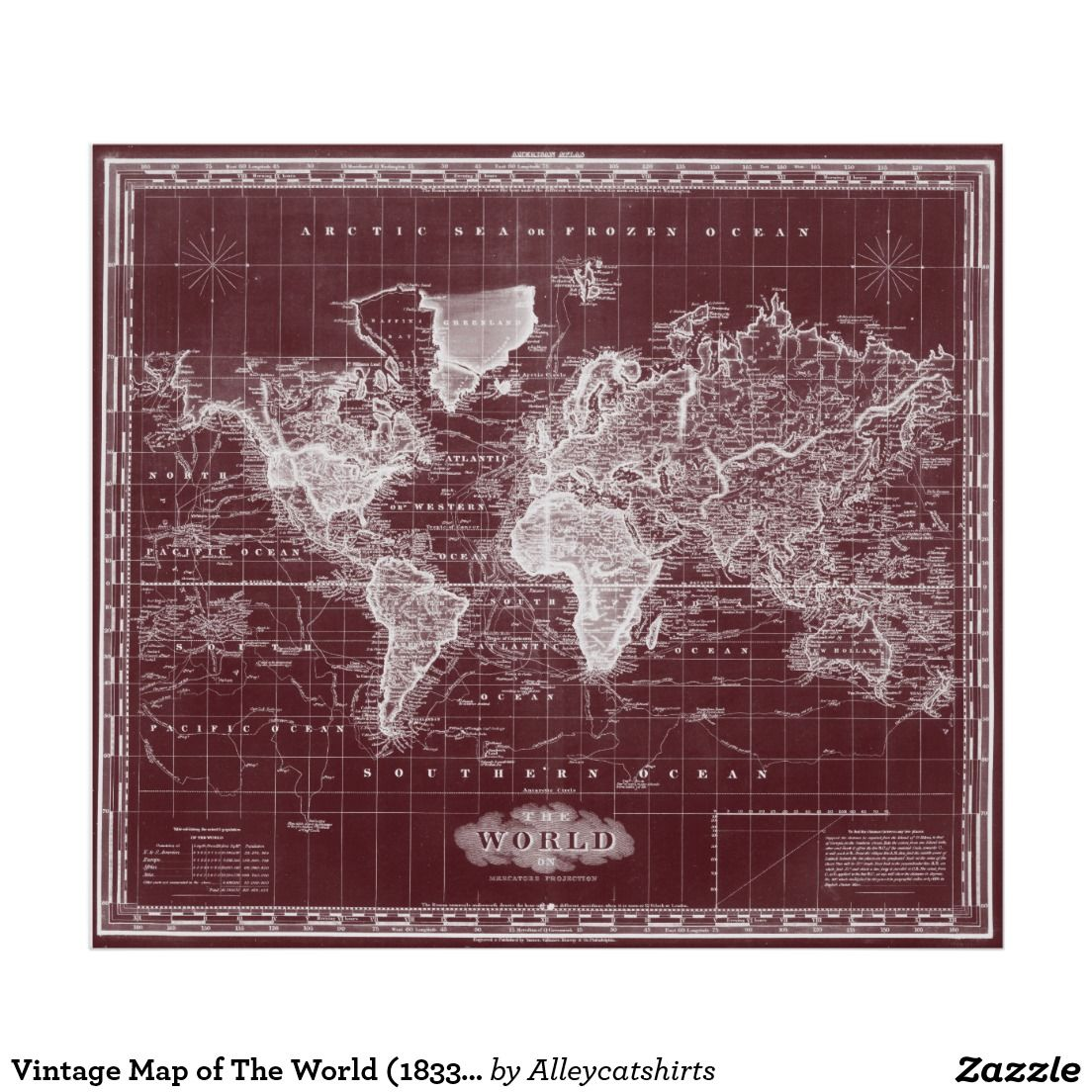 Vintage map of the world 1833 dark red white poster colorful shop vintage map of the world black orange poster created by alleycatshirts gumiabroncs Gallery