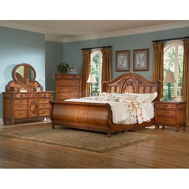 Southern Heritage Chestnut Sleigh Bedroom Set Bedroom