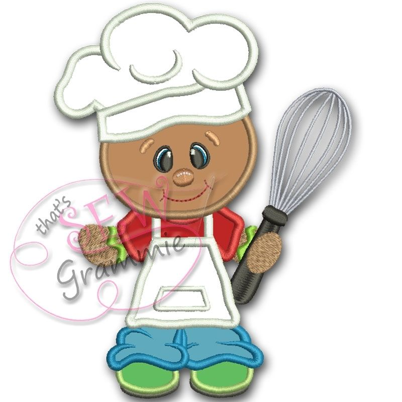 Baking Ginger Boy with Whisk Applique - 3 Sizes!   Gingerbread ...