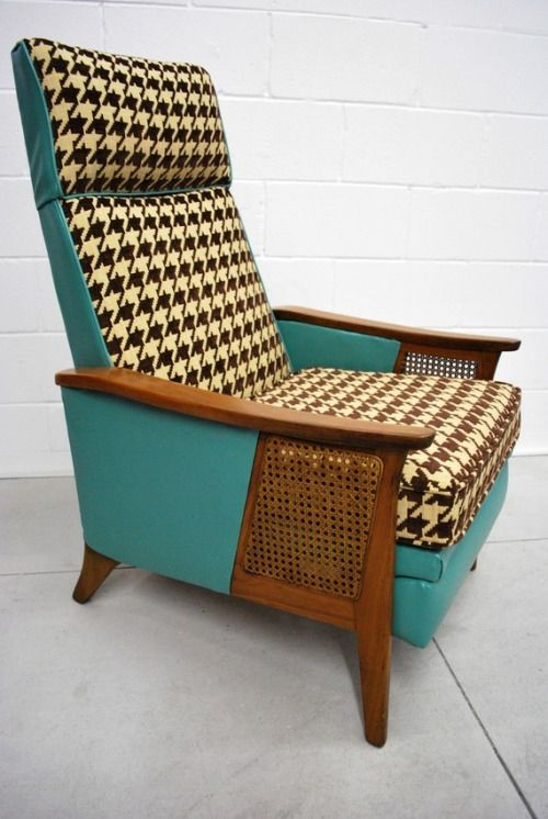 Mid-Century Eames Era Brown Houndstooth Recliner - Via ...