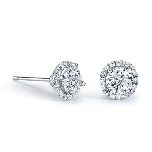 M K Diamonds Jewelry Round Diamond Halo Stud Earrings Studs