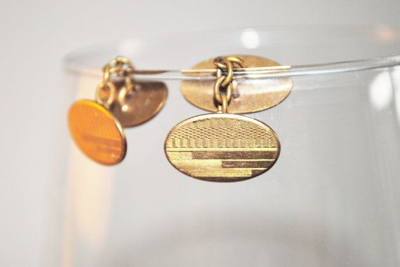 Vintage men's cuff links filled gold rolled by Lilacwinevintage, $25.00