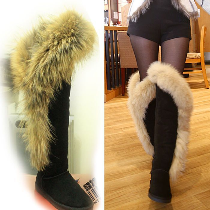 c32c7002f6af6 Fashion Big Faux Fox Fur Women Thigh Snow Knee High Boots Long Winter Warm  Shoes