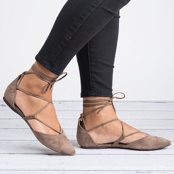 Lace Up Ballerina Flats - Taupe