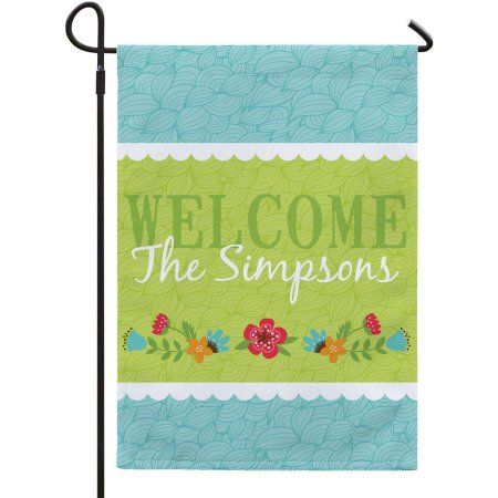 Personalized Floral Garden Flag, White