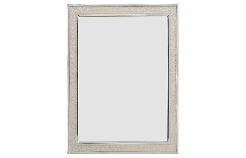 Villere Faux Shagreen Picture Frame Cream Silver 8x10