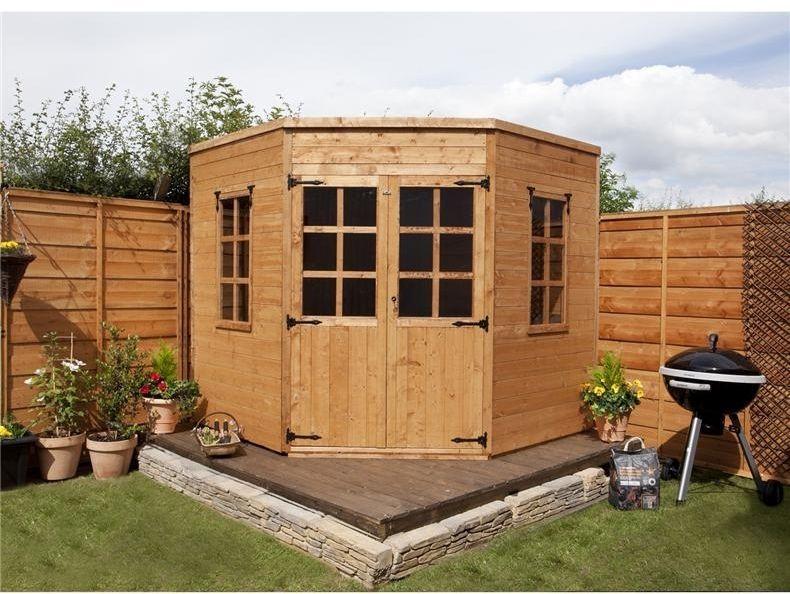 outdoor corner summer house shed garden shed building 7x7 patio yard backyard