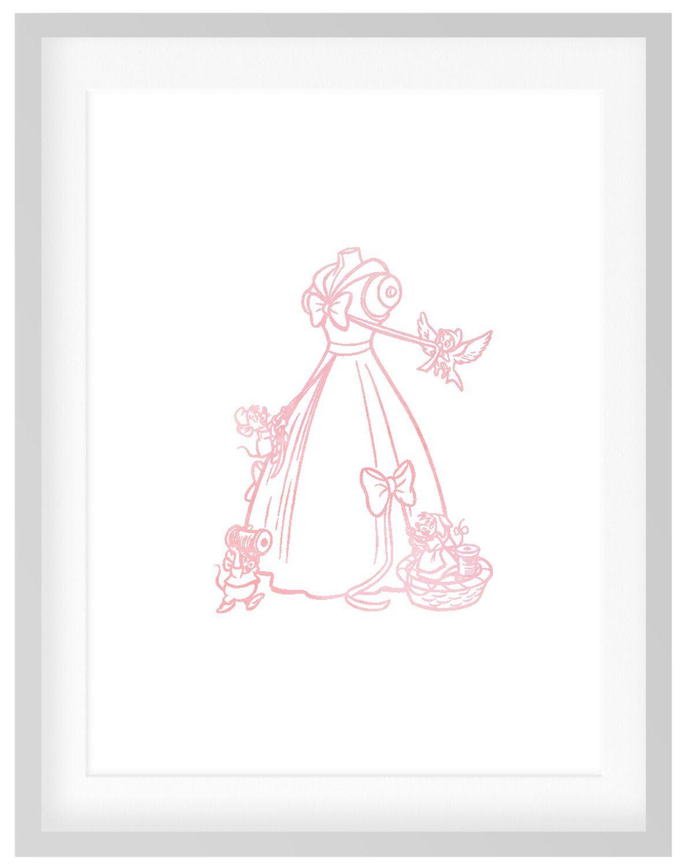 Cinderella printdiy printable pink blush watercolor