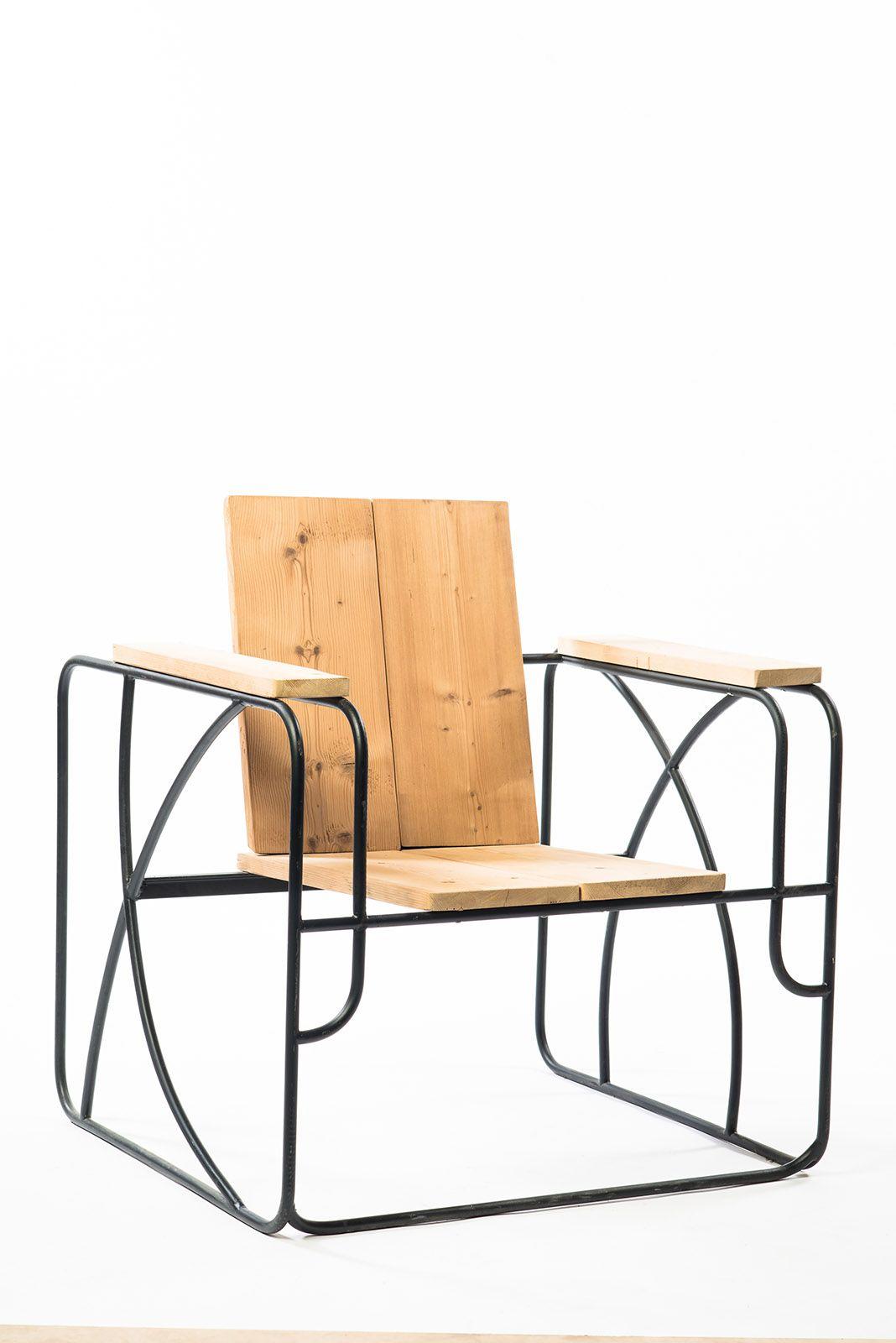 club fauteuil, bois et fer, Etreinte, Eco Fabrik, design, made in France www.amenagement-ecodesign.com www.eco-fabrik.com
