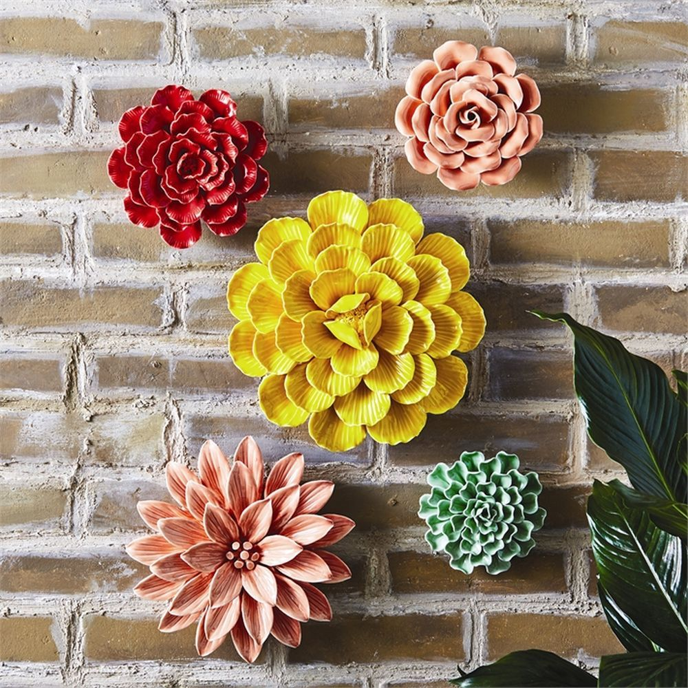 Colorful Porcelain Garden Flower Wall Sculptures Set of 10 by Tozai ...