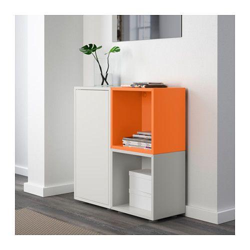EKET Storage combination with feet - white/orange/light gray - IKEA