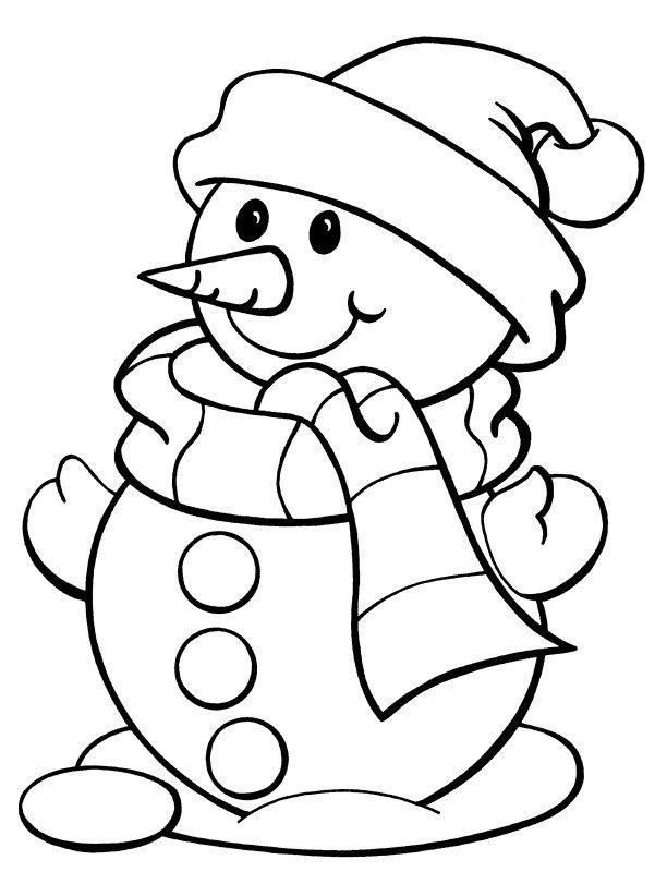 Muneco De Nieve Con Bufanda De Navideno Para Colorear Dibujar