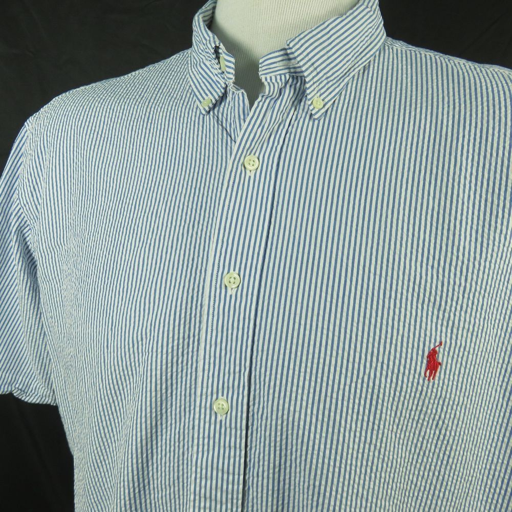 Ralph Lauren Mens 2xb Big Seersucker Shirt Blue White Stripe Short