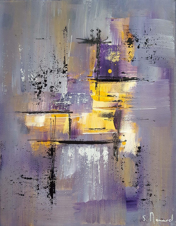 peinture moderne acrylique violet gris jaune blanc noir sur ch ssis toile coton 19 x 24 cm. Black Bedroom Furniture Sets. Home Design Ideas