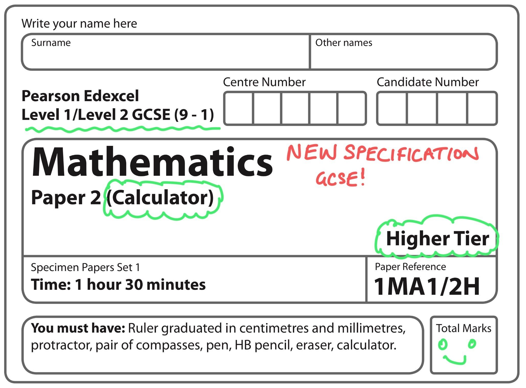 New Spec 9 1 Gcse Set 1 Paper 2 Higher