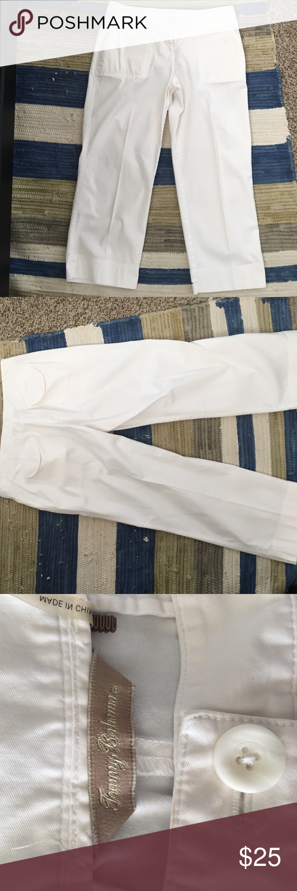 Tommy Bahama White Capri Great condition just a small stain shown in picture Tommy Bahama Jeans