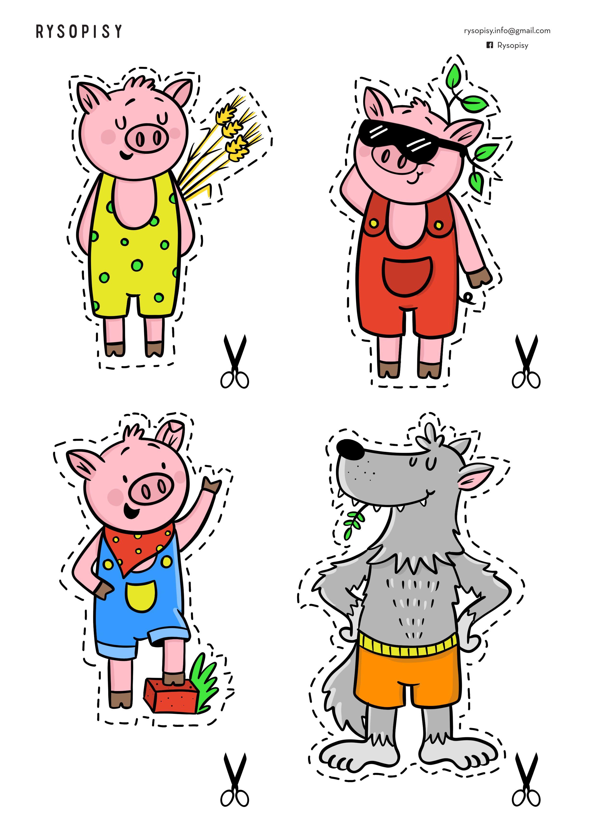Teatrzyk Trzy Małe świnki Kolorowe Rysopisy Little Pigs Three Little Pigs Pig Painting