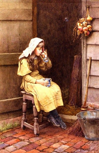Blowing Bubbles by Charles Edward Wilson (1854 – 1951, English)