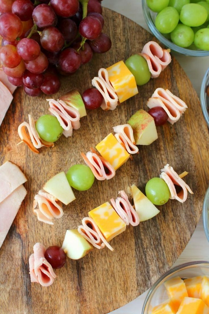 Cheese and Meat Kabobs with Fruit {Forget the sandwiches, these are WAY better!}