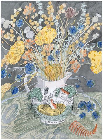 """The Gardener's Arms"" by Angie Lewin (watercolour)"