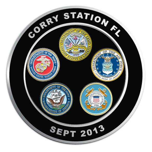 """Custom Challenge Coins made for """"Corry Station FL"""